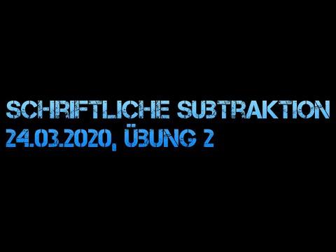 Mathematik Übung 24 03 2020 Schriftliche Subtraktion Teil 2